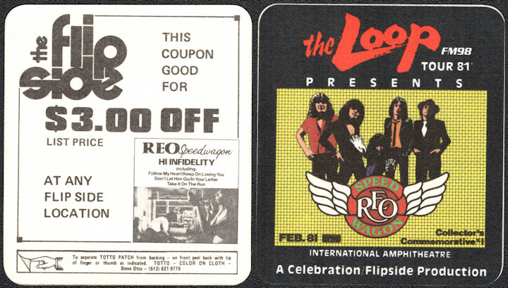 ##MUSICBP0021  - 1981 REO Speedwagon Radio Promo OTTO Commemorative Backstage Pass Chicago - Loop FM98