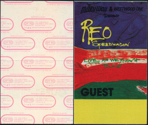 ##MUSICBP0454 - REO Speedwagon Cloth OTTO Backstage Pass from the 1987 Life as We Know It Tour