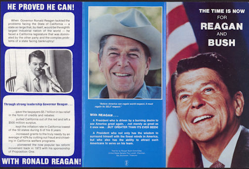 #PL299 - 1980 The Time is Now Reagan Bush Presidential Campaign Brochure