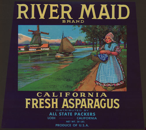 #ZLC346 - RIver Maid Fresh Asparagus Crate Label - Windmills and Dutch Theme