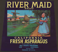 #ZLC346 - RIver Maid Fresh Asparagus Crate Label - Windmills and Dutch Theme