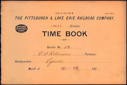 #CA123 - Early 1900s Pittsburgh and Lake Erie Railroad Timebooks
