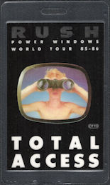 ##MUSICBP0182  - 1985 Rush OTTO Laminated Total Access Backstage Pass from the Power Windows Tour - Boy with BInoculars