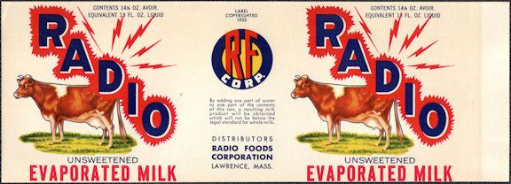 #ZLCA308 - Radio Brand Milk Can Label - Cows - Lawrence, MA