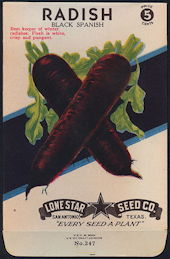 #CE074 - Brilliantly Colored Black Spanish Radish Lone Star 5¢ Seed Pack - As Low As 50¢ each