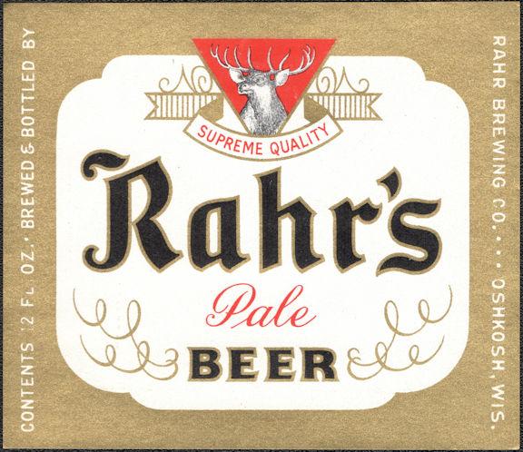 #ZLBE129 - Rahr's Pale Beer Bottle Label - Pictures Deer - Oshkosh, WI