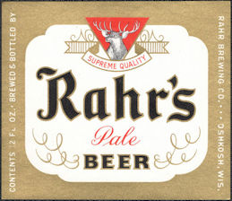 #ZLBE129 - Rahr's Pale Beer Bottle Label - Pictures Deer - Oshkosh, WI