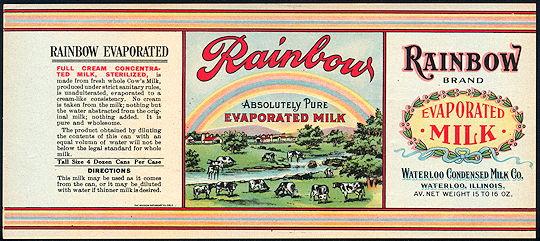 #ZLCA238 - Rare Rainbow Brand Evaporated Milk Label - Cows