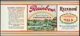 #ZLCA238 - Rare Rainbow Brand Evaporated Milk Label - Cows
