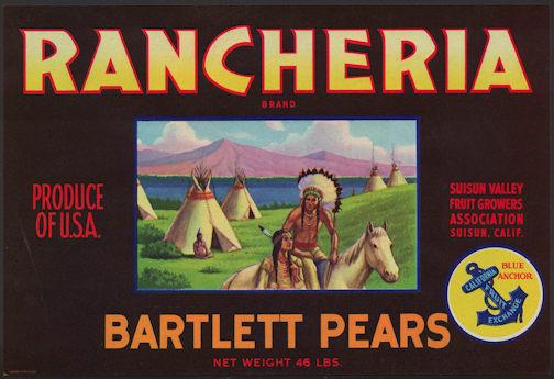#ZLC347 - Rancheria Bartlett Pears Crate Label - Indian Scene