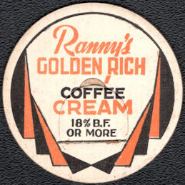 #DC238 - Ranny's Golden Rich Coffee Cream Milk Bottle Cap - Rockford, Ohio