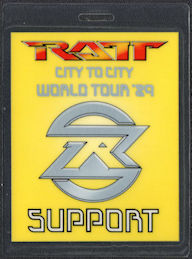 ##MUSICBP0586  - RATT Laminated T-Bird Backstage Support Pass from the CIty to CIty World Tour
