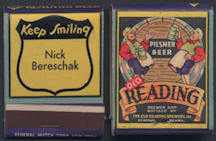 #SP058 - Beautiful Old Reading Pilsner Beer Full Pack of Front Cover Striker Matches