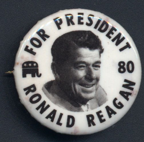 #PL323 - Pictorial Ronald Reagan for President 80 Pin - As low as $1.50 each