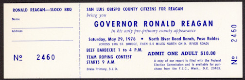 #PL300 - Rare 1976 Reagan Pre-Primary BBQ Ticket - He didn't win that year