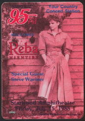 ##MUSICBP0189 - Reba McEntire Cloth OTTO Patch from the 1988 Starwood Amphitheatre Concert - 95FM Radio Pass