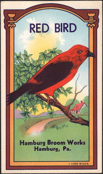 #ZLB053 - Scarce Red Bird Broom Label - Hamburg Broom Works