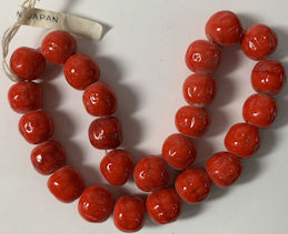 #BEADS0885 - Strand of 24 Large Cherry Brand Glass 11mm Fire Engine Red Baroque (Dimpled) Glass Beads