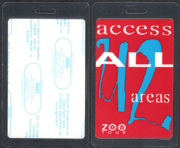 ##MUSICBP0829 - U2 All Access Laminated Backstage Pass from the Zoo TV Tour