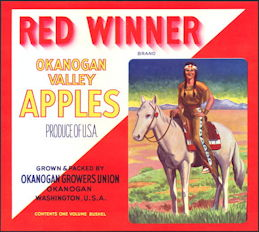 #ZLC160 - Red Winner Apple Crate Label with Indian Maiden