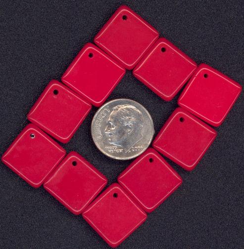 #BEADS0437 - 18mm Reddish Orange Glass Pendant - As Low as 8¢ each