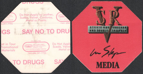 ##MUSICBP0815 - Stevie Ray Vaughan and Double Trouble OTTO Cloth Backstage Media Pass from the 1989 In Step Tour