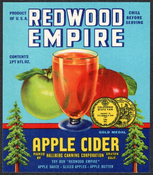 #ZBOT230 - Redwood Empire Apple Cider Bottle Label - Graton, CA