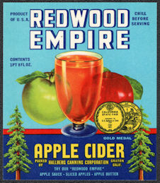 #ZBOT230 - Redwood Empire Apple Cider Bottle Label - Graton, CA