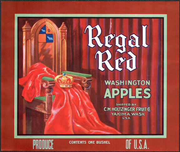#ZLC453 - Regal Red Washington Apples Crate Label