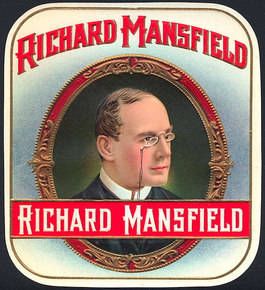 #ZLSC097 - Rare Richard Mansfield Cigar Label - Jack the Ripper Suspect