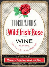 #ZLW183 - Richards Wild Irish Rose Wine Label - Petersburg, VA