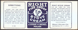 #ZLCA225 - Right Fire Proof Stove Cream Can Label - Rooster Logo - as low as $1 each