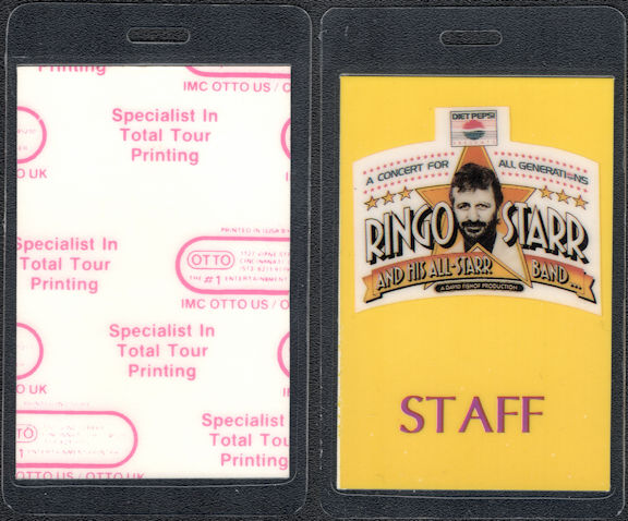 ##MUSICBP0232  - Ringo Starr (Beatles) Laminated OTTO Backstage pass from the A Concert for all Generations Tour