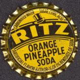 #BC081 - Group of 10 Ritz Orange Pineapple Cork Lined Bottle Cap