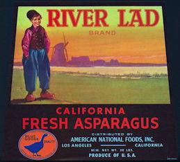 #ZLC411 - River Lad Asparagus Crate Label - Blue Goose