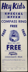 #DA068 - RIverside Dairy Milk Bottle Holder Pocket Stuffer - Advertises Free Compass RIng for Kids