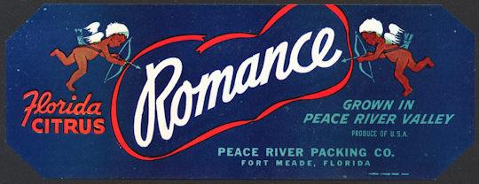 #ZLCA*025 - Romance Florida Citrus Strip Crate Label - Cupids - As low as $1 each