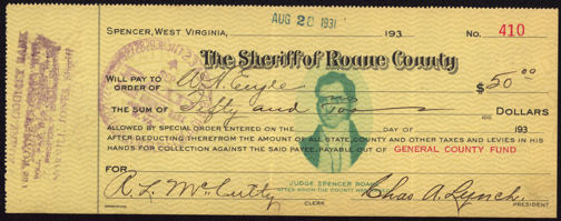 #ZZZ071 - Fancy 1932 The Sheriff of Roane County Check
