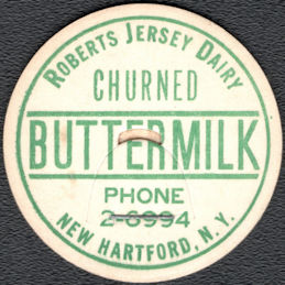 #DC248 - Roberts Jersey Dairy Churned Buttermilk Bottle Cap - New Harford, NY