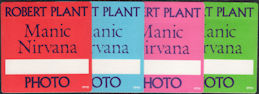 ##MUSICBP0191 - Group of 4 Different Colored Robert Plant (Led Zeppelin) OTTO Photo Backstage Passes from the 1990 Manic Nirvana Tour