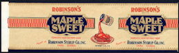 #ZLCA243 - Scarce Robinson's Maple Sweet Syrup Can Label