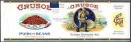 #ZLCA301 - Rare Early Crusoe (Robinson Crusoe) Pork and Beans Can Label - Elyria, Ohio