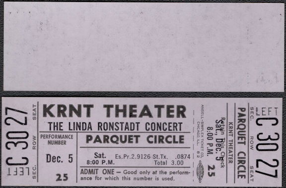 ##MUSICBPT0042 - 1970 Linda Ronstadt Concert Ticket from the KRNT Theater