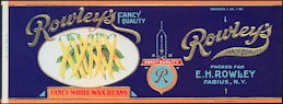 #ZLCA122.5 - Heavily Embossed and Gilded Rowley's Fancy Whole Waxed Bean Can Label