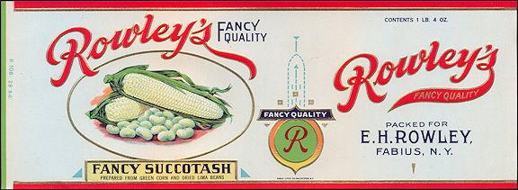 #ZLCA156 - Rare Rowley's Fancy Succotash Label