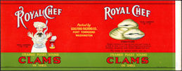 #ZLCA292 - Uncommon Royal Chef Steamed Puget Sound Clams Can Label