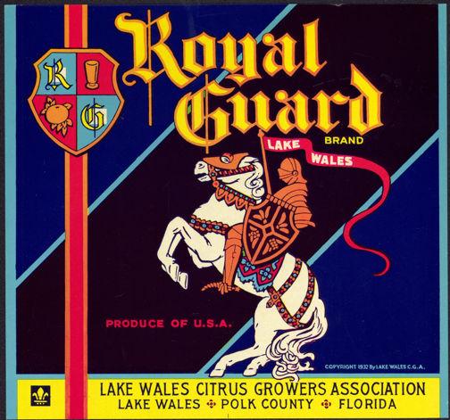 #ZLC289 - Royal Guard Florida Orange Crate Label