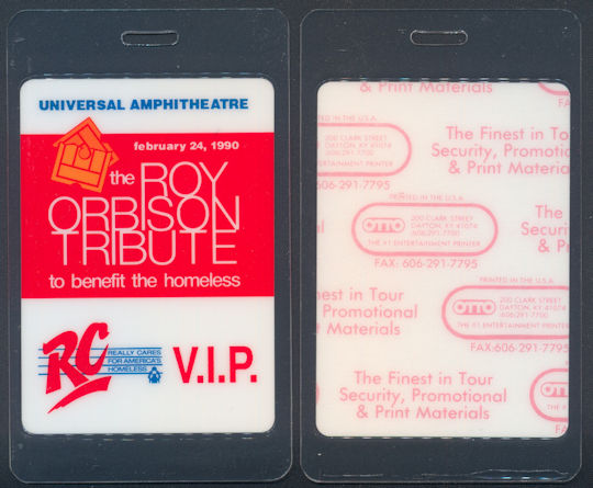 ##MUSICBP0063 - 1990 Roy Orbison  Tribute Concert Event OTTO Laminated Backstage Pass - Many Famous Artists Including Bob Dylan, B. B. King, John Fogerty, etc.