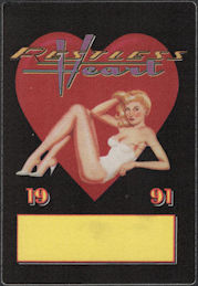 ##MUSICBP0852 - Rare Restless Heart OTTO Cloth Pinup Backstage Pass from the 1991 Fast Movin' Train Tour