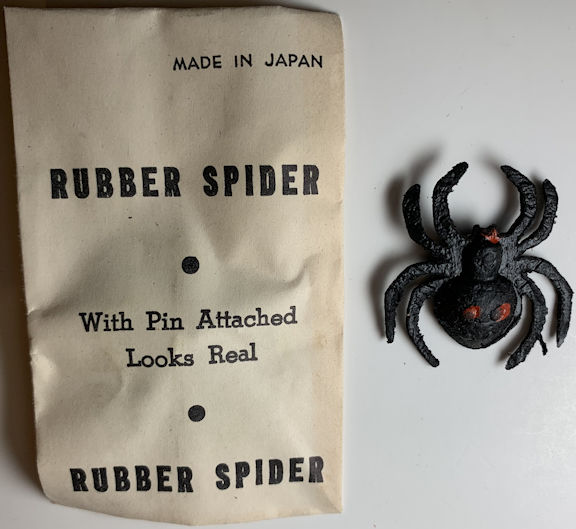 #TY762 - Group of 12 Rubber Spider Gags in Original Packages - Made in Japan